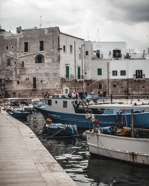 harbor, Monopoli, Puglia, Italy, white houses