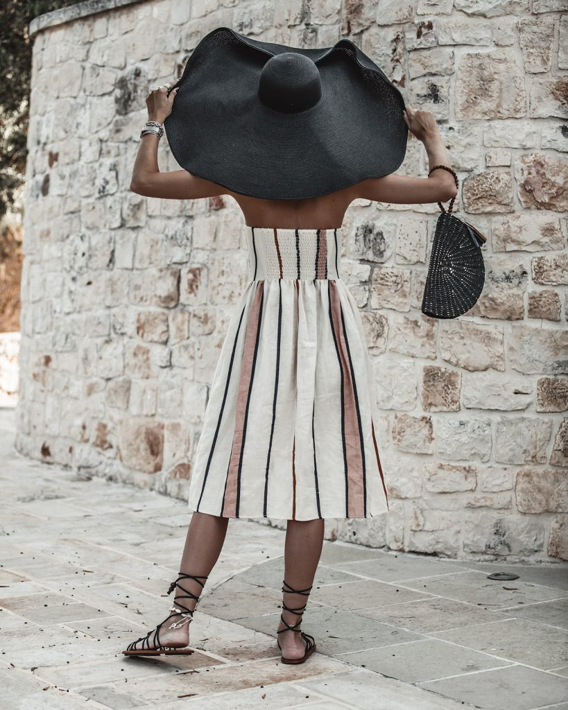 trullo, puglia, earth tones, tripes, oversized hat, puglia, Italy