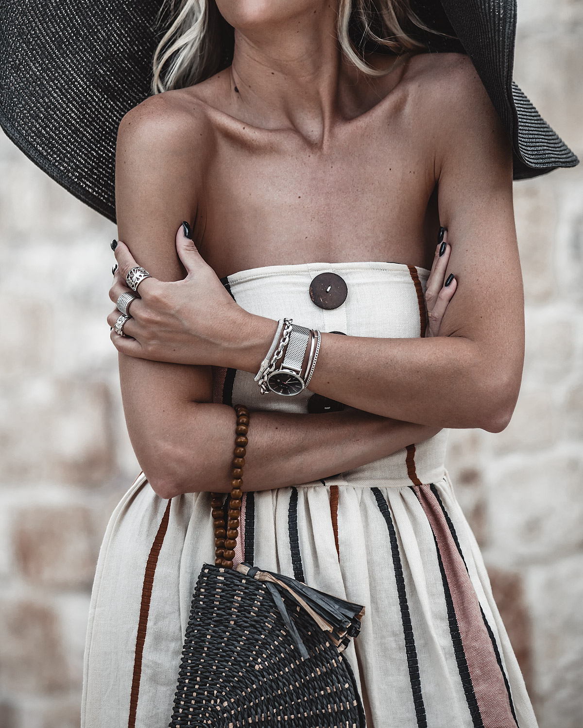 earth tones, stripes, oversized hat, puglia, Italy