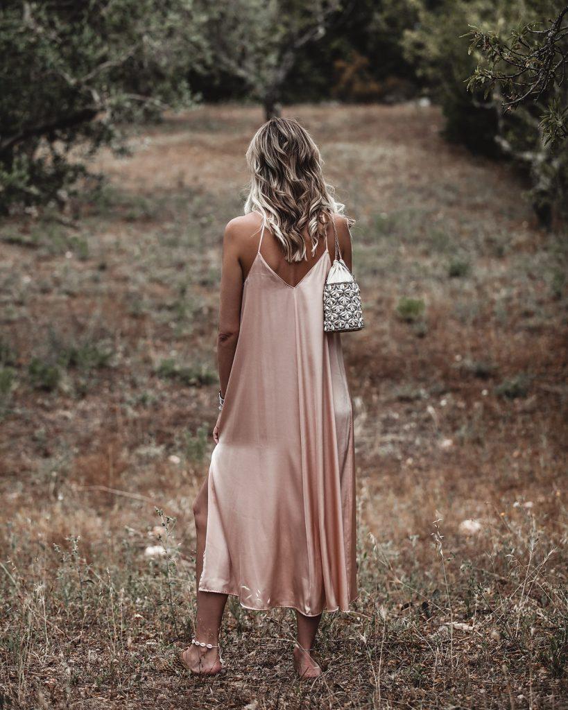 satin dress outifit idea