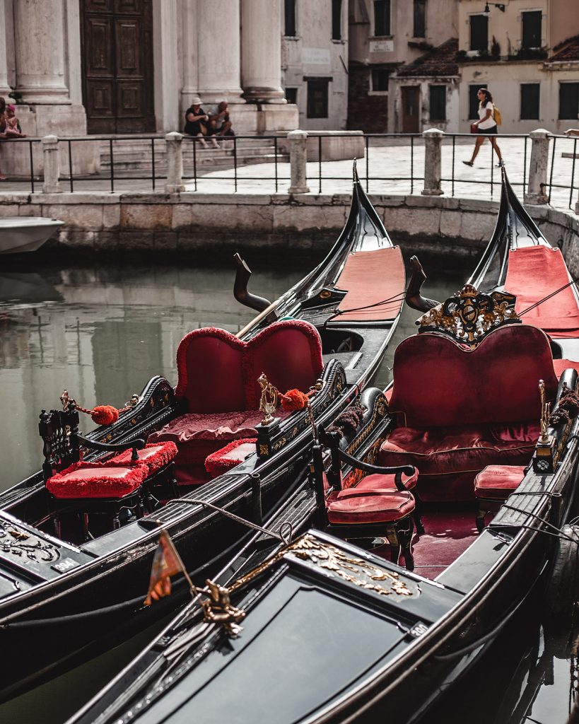 two gondolas parked trip to Venice what to wear