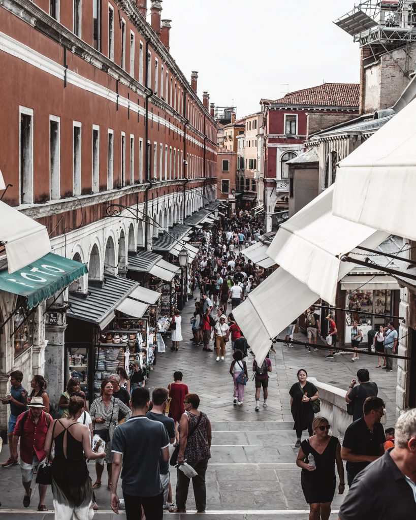 people in a market of venice
