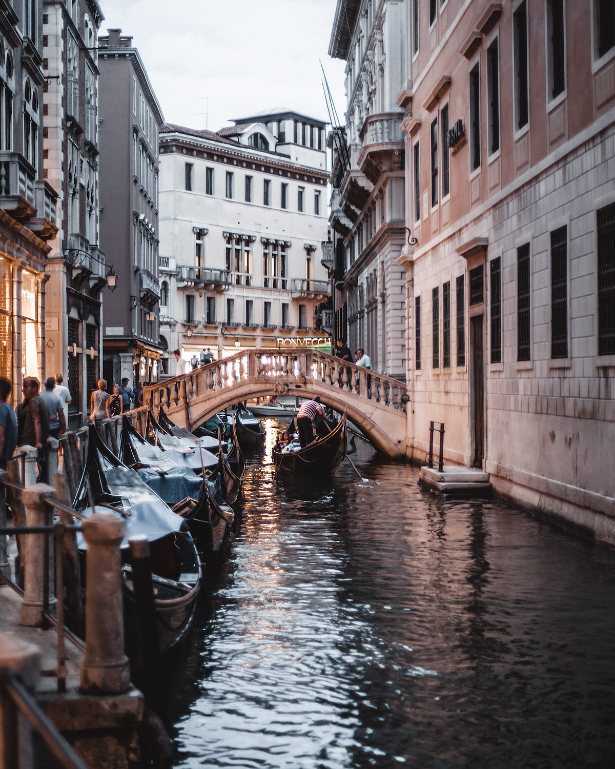 View of a canal evening in Venice