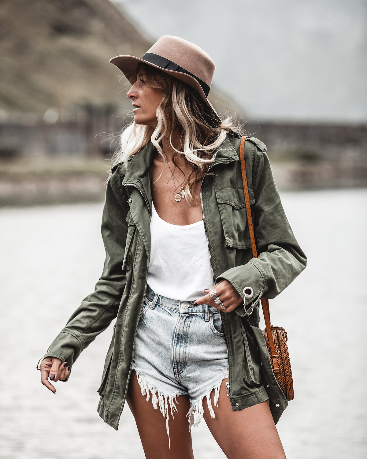 military jacket jeans shorts outfit