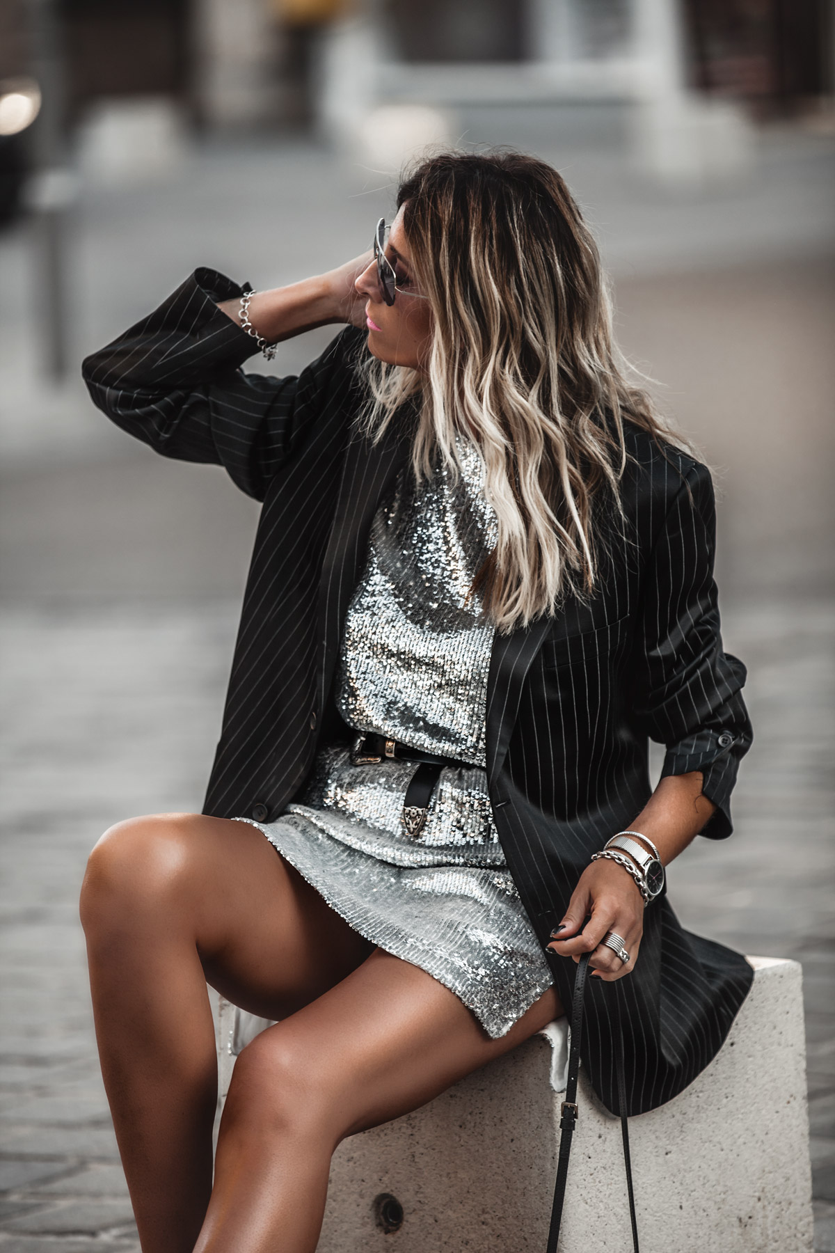 Sequin Dress With Blazer And Sneakers