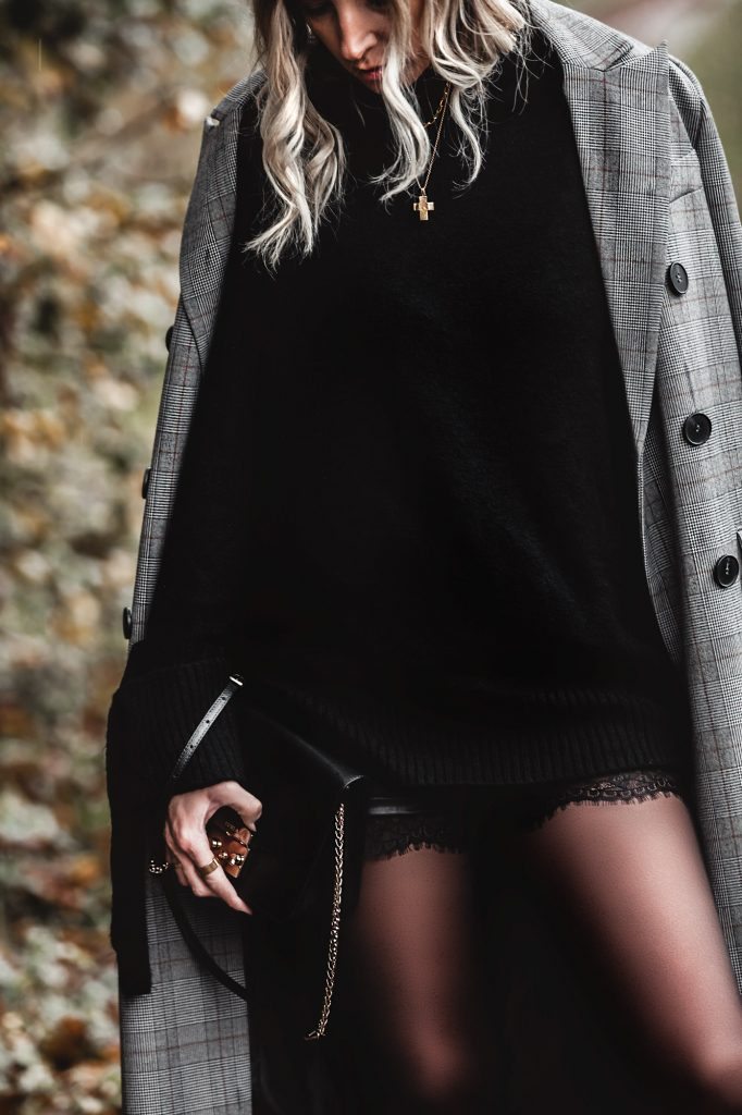 Faux leather shorts with lace and plaid coat