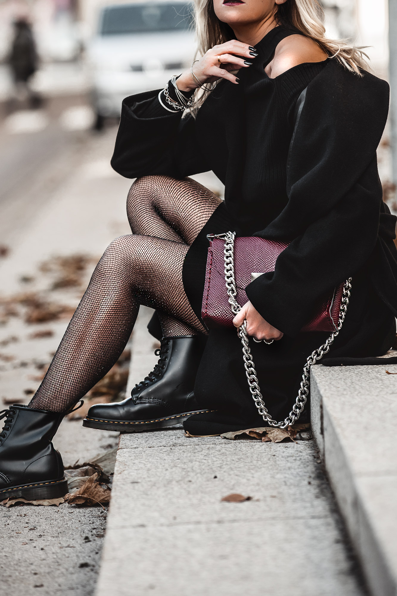 nothing to wear problem & solution, black dress, fishnet glitter tights, dr martens, burgundy bag
