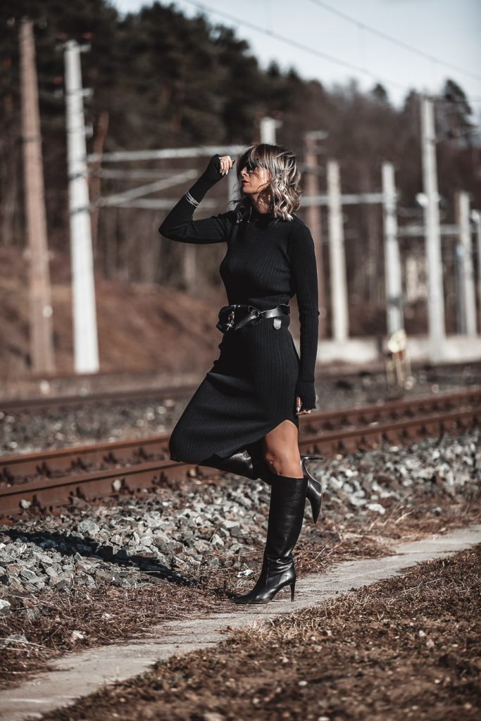 Three Key Pieces To Add To Your Wardrobe Right Now - www.jennysgou.com - Black dress side slit, slouchy boots