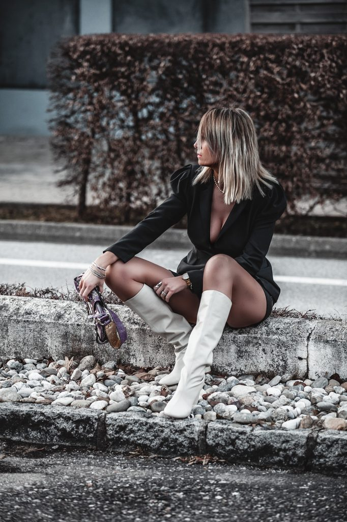 The Puff Shoulder Blazer - How To Add Drama To Your Outfit - Black Blazer, Leather Shorts, White boots, Purple Bag - www.jennysgou.com