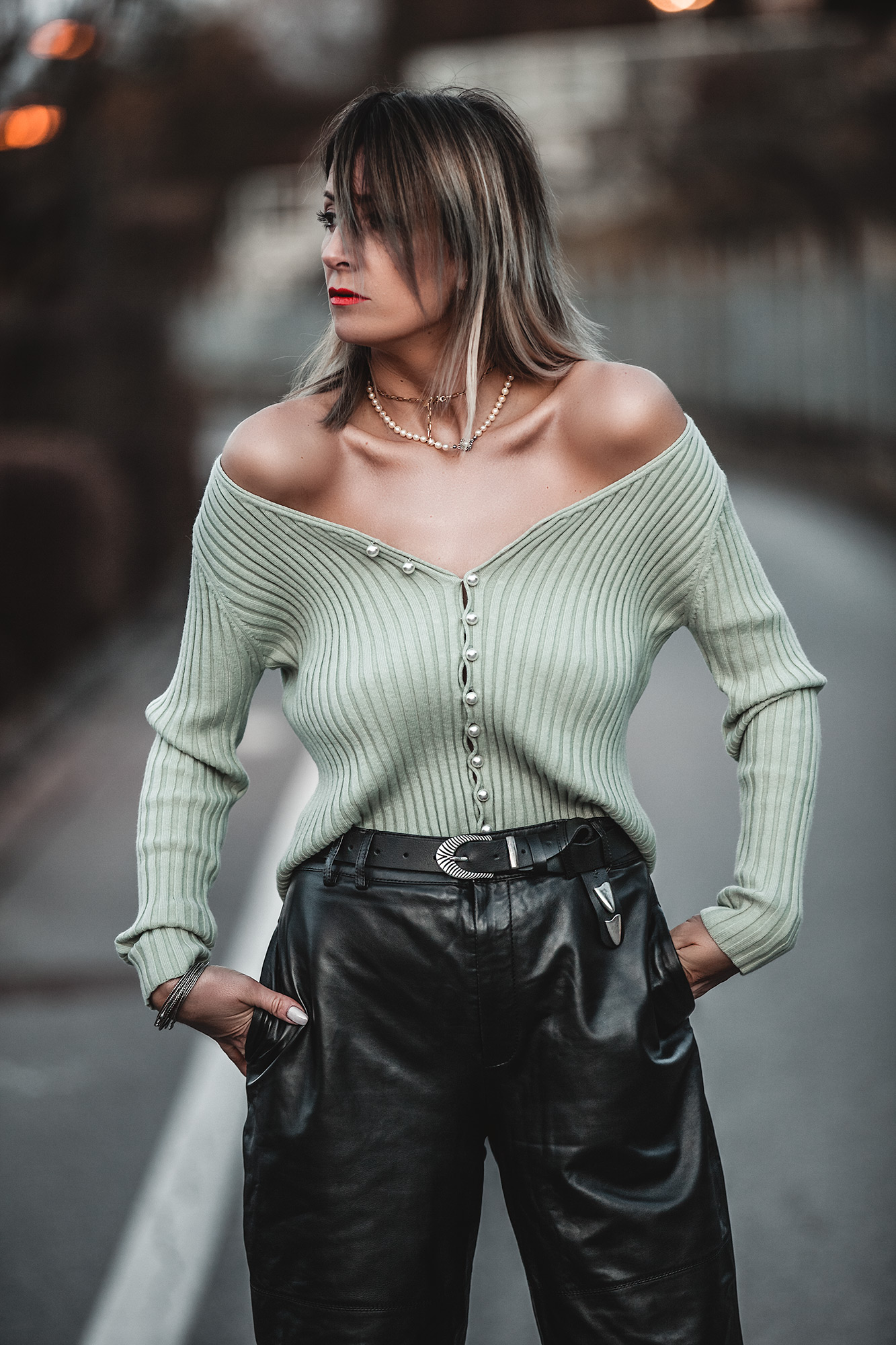 This Is The Only Colour I Need This Spring - Mint Cardigan with Pearls, Slouchy leather trousers
