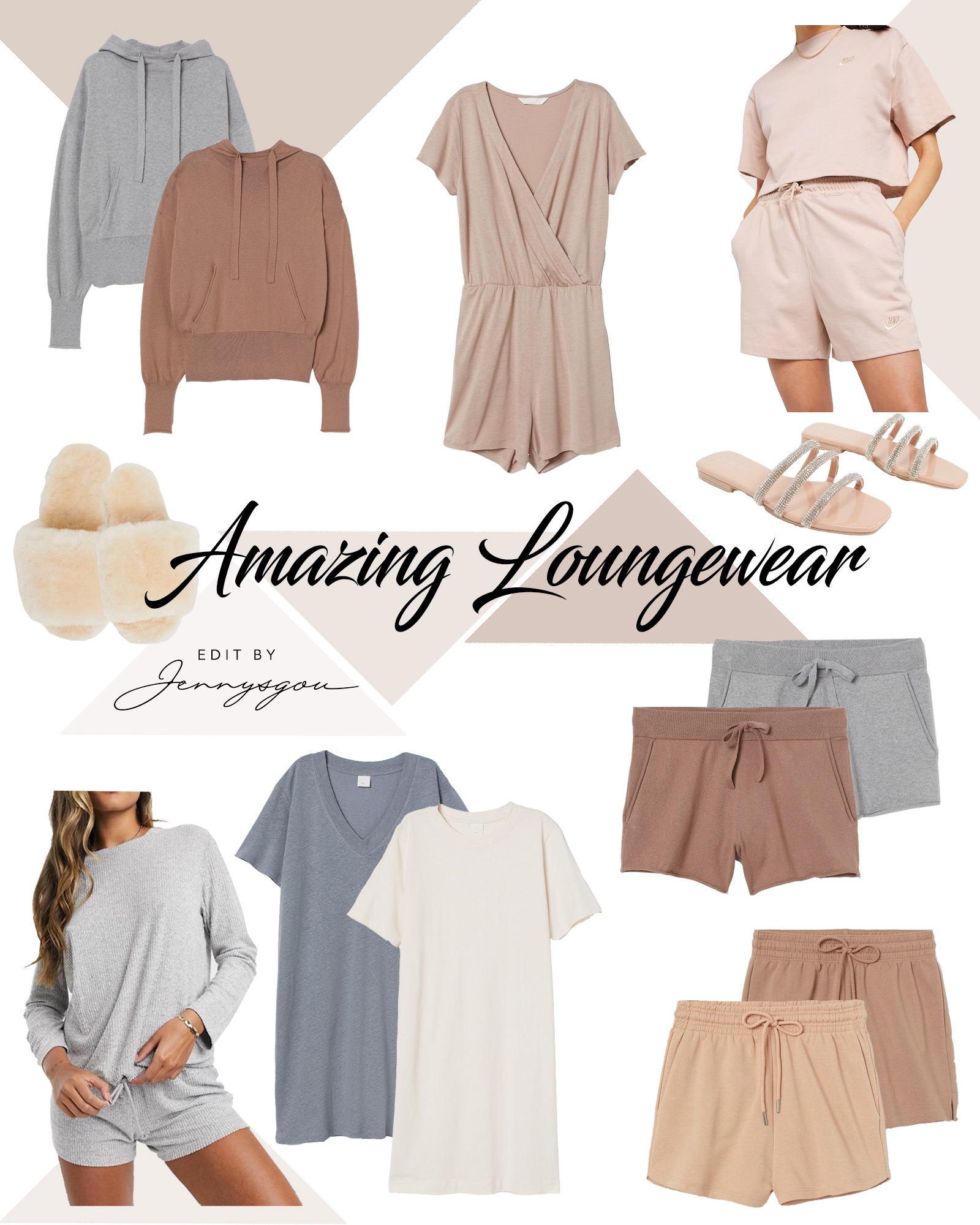 Lately, I've been on a crush with beige, mocca, cappuccino, and Sahara tones. Generally, earth tones are so relaxing to the eye and help us achieve our goal at home, which is to clean our thoughts and minds, relax and feel good. Below you will find some of the best loungewear for women that got my attention in spring 2020. The short sets, whether cashmere, cotton or jersey, are so cute. Fur slippers and flip flops are also a must.