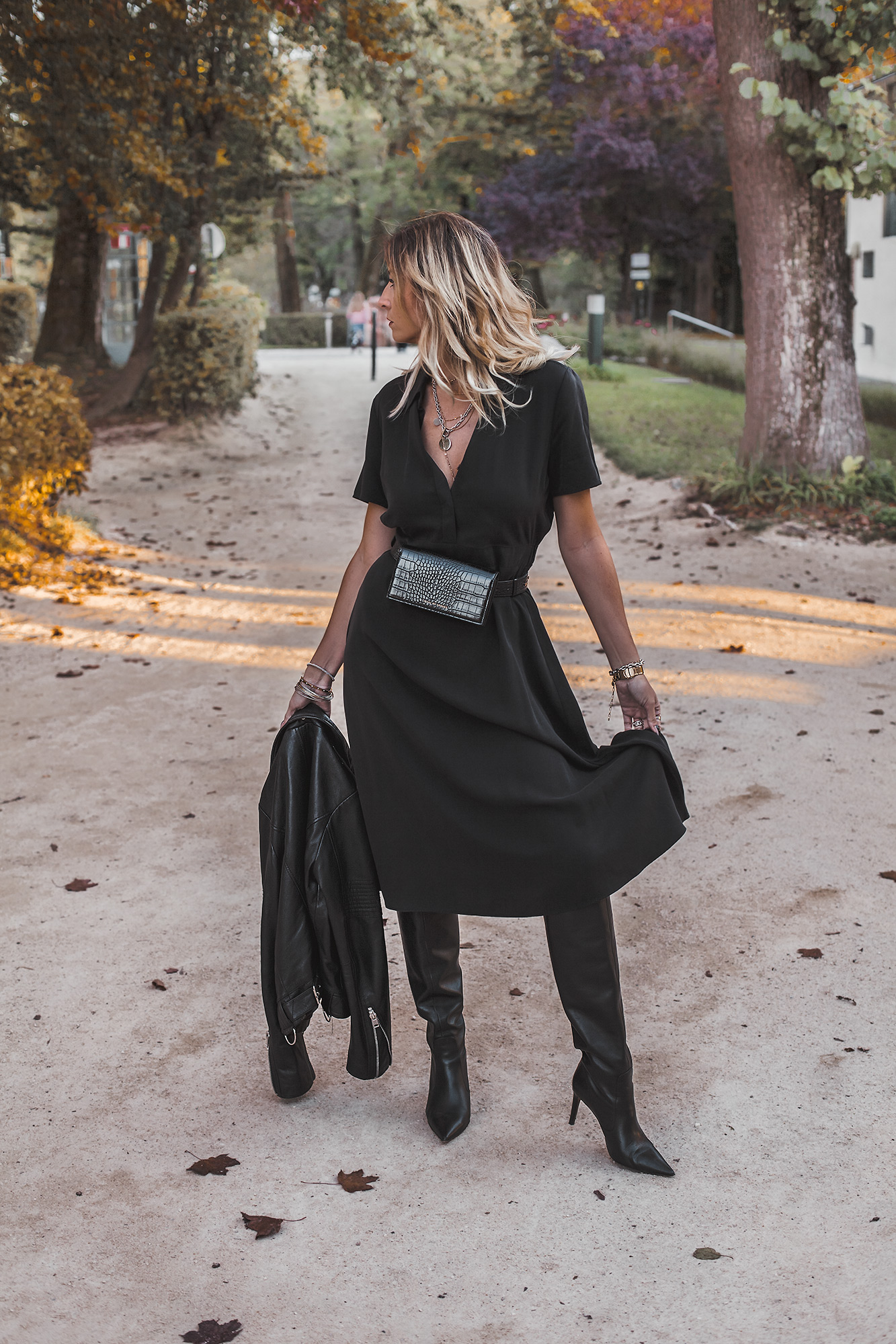Black Dress, Black Slouchy leather Boots, Leather Jacket, Belt Bag. All Black Everything.